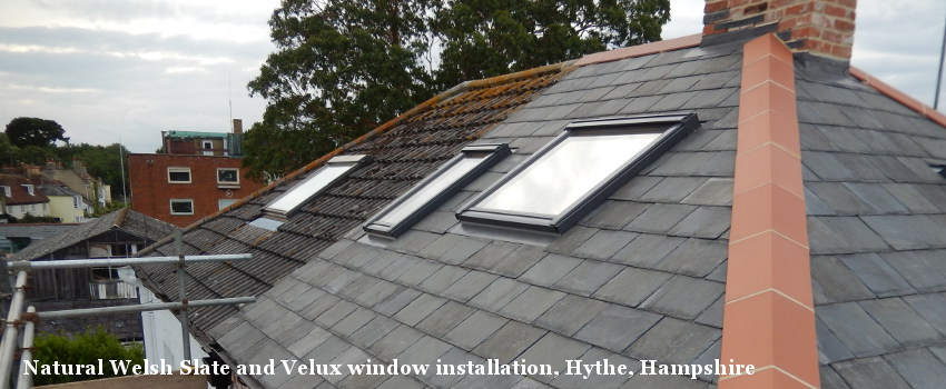 Natural Welsh Slate with Velux installation, Hythe, Hampshire