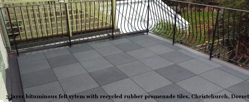 3 layer bituminous felt system with recycled rubber promenade tiles, Christchurch, Dorset